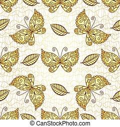 padrão, borboletas, branca, seamless, ouro