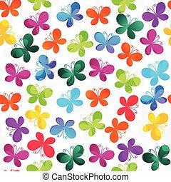 padrão, borboletas, branca, seamless