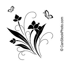 padrão, borboletas, flor