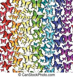 padrão, borboletas, seamless, arco íris