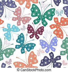 padrão, borboletas, seamless, floral, branca