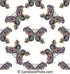 padrão, borboletas, seamless