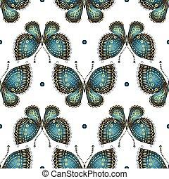 padrão, borboletas, seamless, vindima, branca
