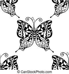 padrão, borboletas, vetorial