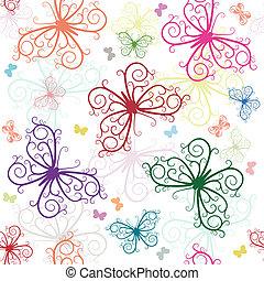 padrão, branca, borboletas, repetindo