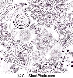 padrão, branca, repetindo, floral