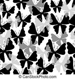 padrão, branca, (seamless), borboletas
