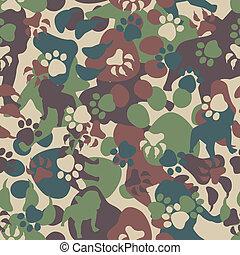 padrão, cão, camuflagem