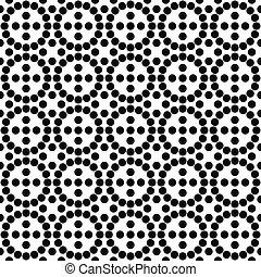 padrão, círculo branco, pretas, repetindo