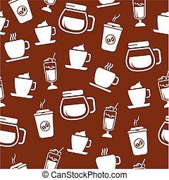 padrão, café, seamless