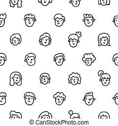 padrão, caras, meninas, seamless, meninos, doodle