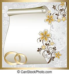 padrão, cartão, casório, floral