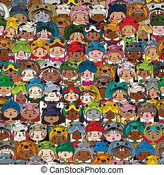 padrão, crianças, colorido