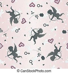 padrão, cupids, seamless, rosas