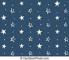 padrão, desenhado, seamless, estrelas, mão