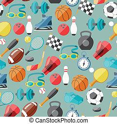 padrão, desporto, seamless, icons.
