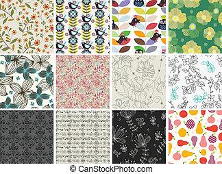 padrão, diferente, jogo, flores, seamless