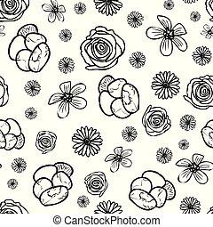 padrão, doodle, fundo, seamless, flor, mão, desenhado, jardim