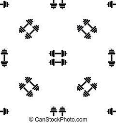 padrão, dumbbells, pretas, dois, seamless