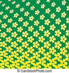 padrão, flor, amarela, halftone