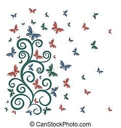 padrão, flor, butterflies.