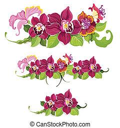 padrão, flor tropical, elementos