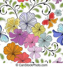 padrão floral, branca, repetindo