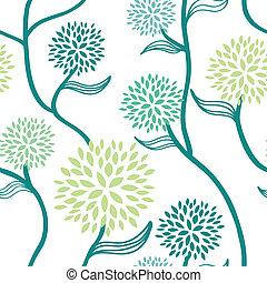 padrão floral, branca, verde azul