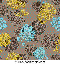 padrão floral, estilo, seamless, retro