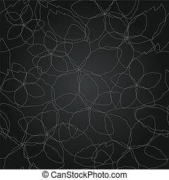padrão floral, linha, seamless, prata