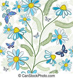 padrão floral, repetindo, branca