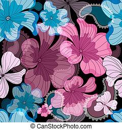 padrão floral, repetindo, pretas