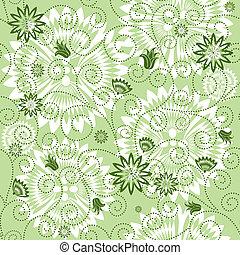 padrão floral, repetindo, verde