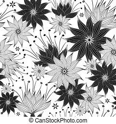 padrão floral, repetindo, white-black