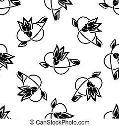 padrão floral, rodar, seamless, fundo