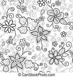 padrão floral, seamless, tracejado