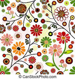padrão floral, vívido, seamless