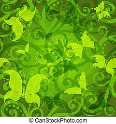 padrão, floral, verde