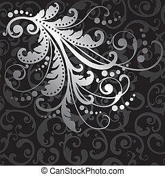 padrão, flores, prata, seamless