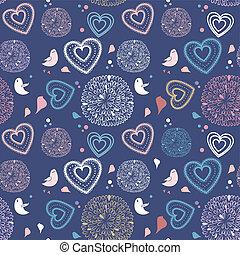 padrão, flores, seamless, corações