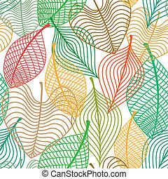 padrão, folhas, seamless, coloridos
