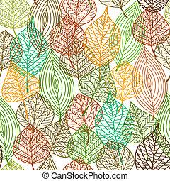 padrão, folhas, seamless, outonal