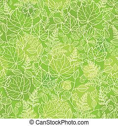 padrão, folhas, seamless, textura, experiência verde, lineart