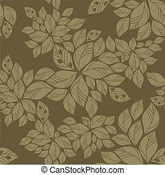 padrão, folhas, verde, seamless