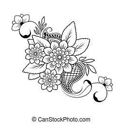 padrão, fundo, vetorial, flor, branca