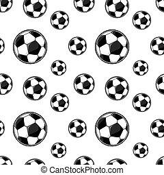 padrão, futebol, seamless, bolas