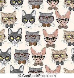 padrão, gatos, hipster, seamless, fundo