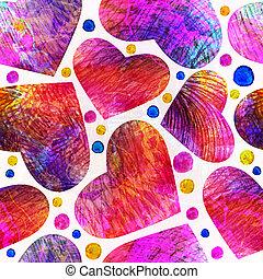 padrão, hearts., seamless, eps, vetorial, 10