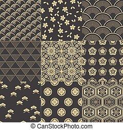 padrão, japoneses, seamless, malha