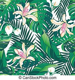 padrão, luxuriante, seamless, tropicais, fundo, flores brancas
